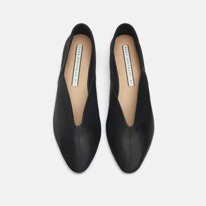 NWT Zara Size 6 Black Leather Slippers